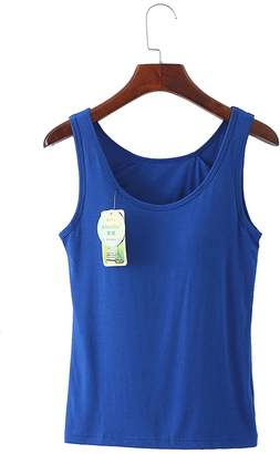 7ed4b8729e5b5 Rofala Women Camisole Tank Top with Built in Shelf Bra for Sports and Daily  Wear US
