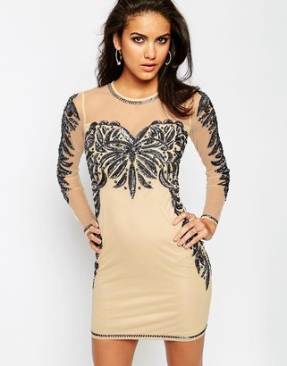 ASOS Embellished Mesh Sweetheart Bodycon Mini Dress $122 thestylecure.com