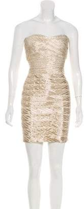 Herve Leger Cocktail Bandage Dress Beige Cocktail Bandage Dress