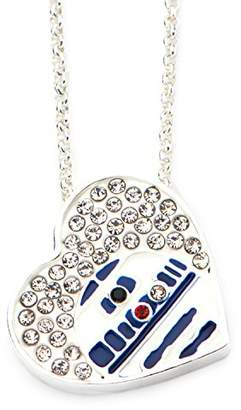 Star Wars Jewelry Plated R2-D2 Heart in Genuine Crystals Pendant with Chain Necklace