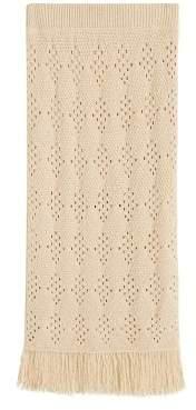 MANGO Fringed detail knitted skirt