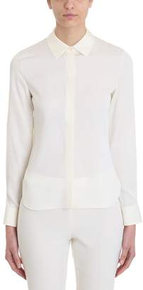 Theory Classic Fitted Ivory Silk Concealed Front Shirt