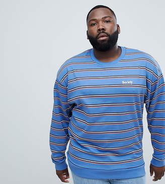 Asos DESIGN plus oversized retro striped sweatshirt with embroidery