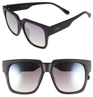Junior Women's Quay Australia 'On The Prowl' 55Mm Square Sunglasses - Black/ Silver Mirror $50 thestylecure.com