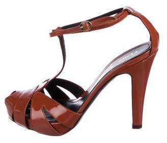 Fendi Patent Leather T-Strap Sandals