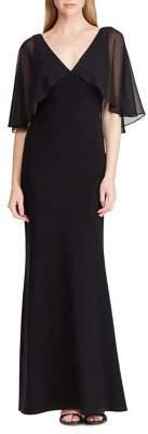 Lauren Ralph Lauren Georgette-Overlay Jersey Maxi Gown