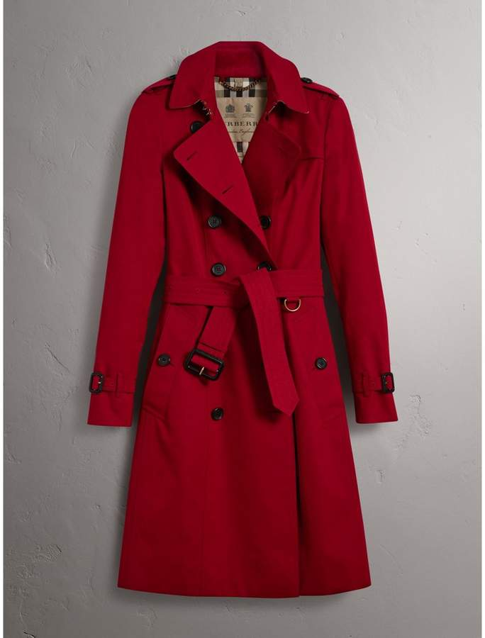 Burberry The Chelsea - Long Heritage Trench Coat , Size: 08, Red