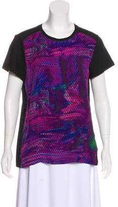 Proenza Schouler Silk Paneled Short Sleeve T-Shirt