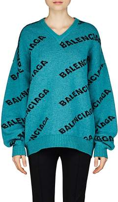 Balenciaga Women's Intarsia-Knit Wool Oversized Sweater