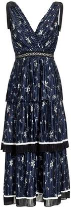 Self-Portrait Self Portrait Star Print Tiered Midi Dress