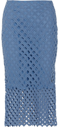 Sandro Jael crocheted cotton midi skirt $295 thestylecure.com