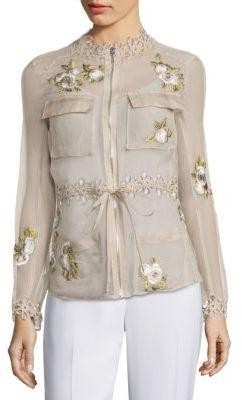 Elie Tahari Katya Silk Cargo Organza Jacket $398 thestylecure.com