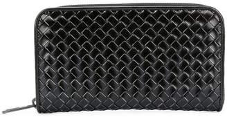 Bottega Veneta nero metal brush calf zip-around wallet