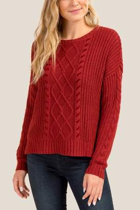 francesca's Samara Cable Velvet Whipstitch Sweater - Cinnamon