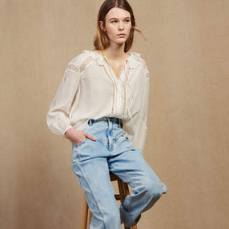 Sandro Flowing Blouse With Lace Trims