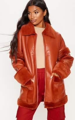 PrettyLittleThing Black Faux Fur Trim Oversized Jacket