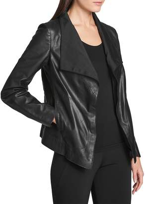 Donna Karan Women's Leather Open-Front Jacket