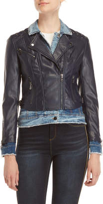 Desigual Layered-Effect Denim & Faux Leather Jacket