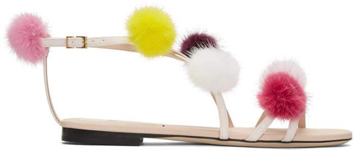 Fendi Pink Strapped Fur Pom Pom Sandals