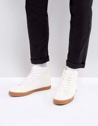 Asos Design High Top Sneakers In White With Gum Sole