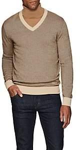 Brioni Men's Wool-Blend Herringbone V-Neck Sweater - Beige, Tan