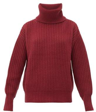 Joseph Pearl Roll Neck Chunky Knit Wool Sweater - Womens - Dark Red