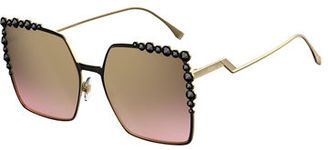 Fendi Can Eye Studded Oversized Square Sunglasses $570 thestylecure.com