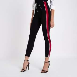 River Island Black stripe side high waisted zip leggings