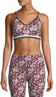 Kate Spade Whimsy Bi-Stripe Floral Sports Bra
