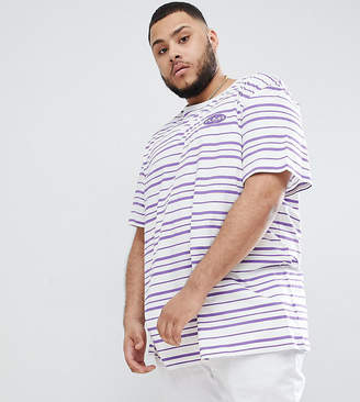 Puma organic cotton t-shirt in retro stripe in purple Exclusive at ASOS