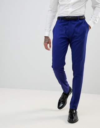 Asos Design WEDDING Super Skinny Smart Pants In Bright Blue