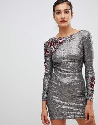 Little Mistress long sleeve all over sequin dress