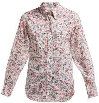 Etoile Isabel Marant Emelina Leaf Print Cotton Shirt - Womens - White Multi