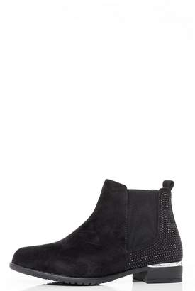 Quiz Black Diamante Embellished Ankle Boots