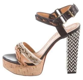 Lanvin Braided Trim Platform Sandals