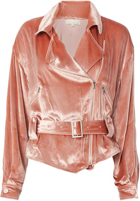 Fleur Du Mal Velvet Rider Jacket Blush P