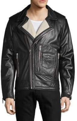 Faux Fur-Trimmed Leather Jacket