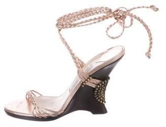 Jimmy Choo Metallic Leather Wedge Sandals