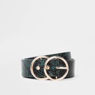 River Island Green snake embossed double ring belt