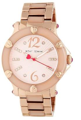 Betsey Johnson Textured Dial Epoxy Link Bracelet Watch, 41mm