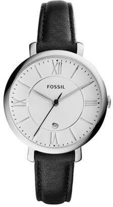 Fossil Jacqueline Three-Hand Date Black Leather Watch Jewelry