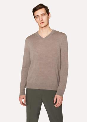 Paul Smith Men's Taupe Marl V-Neck Merino Wool Sweater