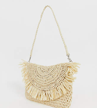 fb921e0c5 South Beach Exclusive frayed edge natural straw clutch bag with detachable  shoulder strap
