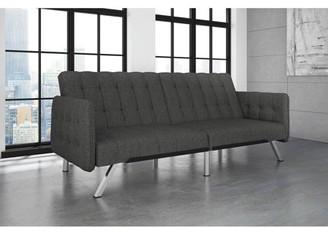 DHP Emily Convertible Tufted Sofa Sleeper, Grey Linen Upholstery