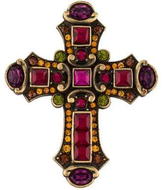Jay Strongwater Crystal Christian Cross Pin