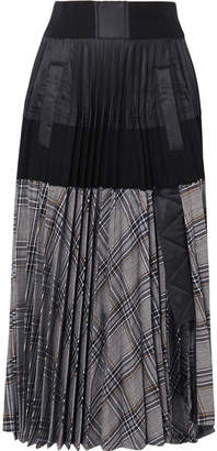 Sacai Checked Pleated Wool-twill, Poplin, Shell And Cotton-jersey Skirt - Anthracite