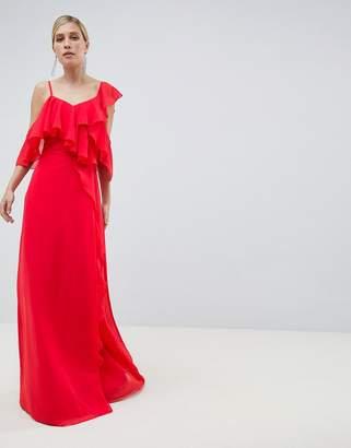 Asos Design DESIGN Wrap Maxi Dress With Ruffles