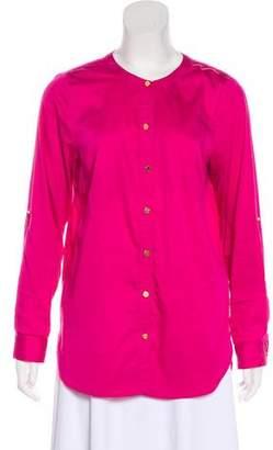 Michael Kors Crew Neck Button-Up Top