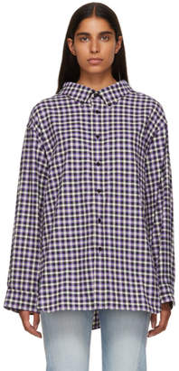Balenciaga Purple and Black Checkered Swing Collar Shirt