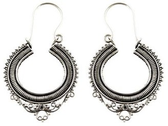 Novica Artisan Crafted Sterling Complexity HoopEarrings